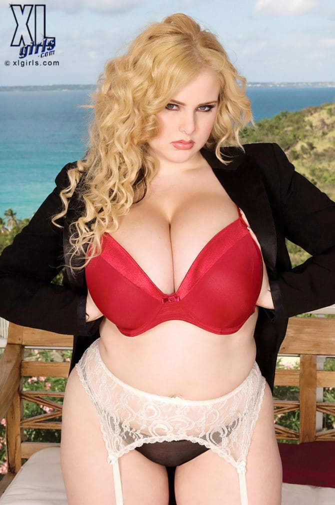 Ashley Sage bonnasse blonde en tailleur et lingerie hot